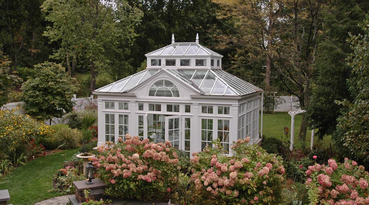 back yard garden conservatory