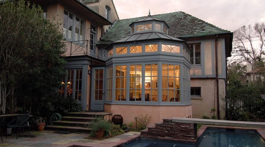 bay-end conservatory at dusk