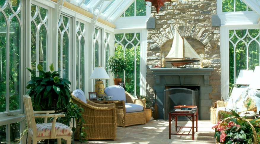 living room fireplace conservatory
