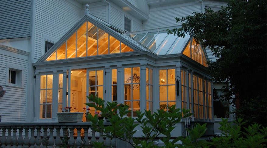 double gable conservatory at night