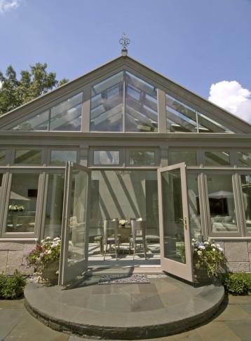 hardwood pool house conservatory entrance