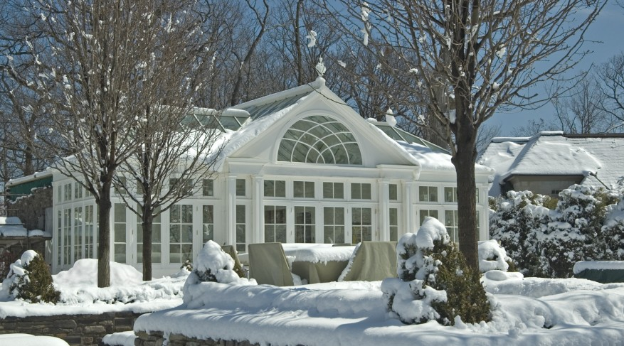 pool house in winter