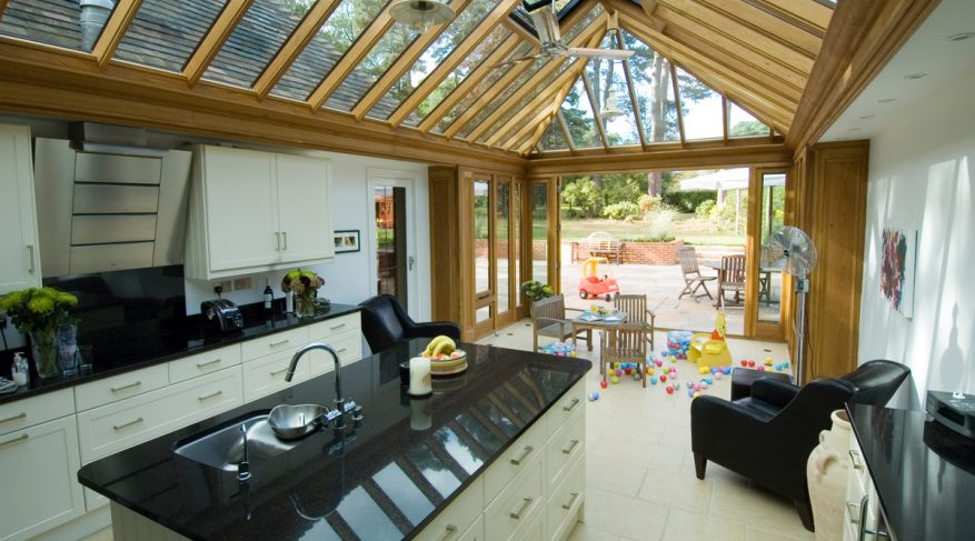 black and white kitchen conservatory