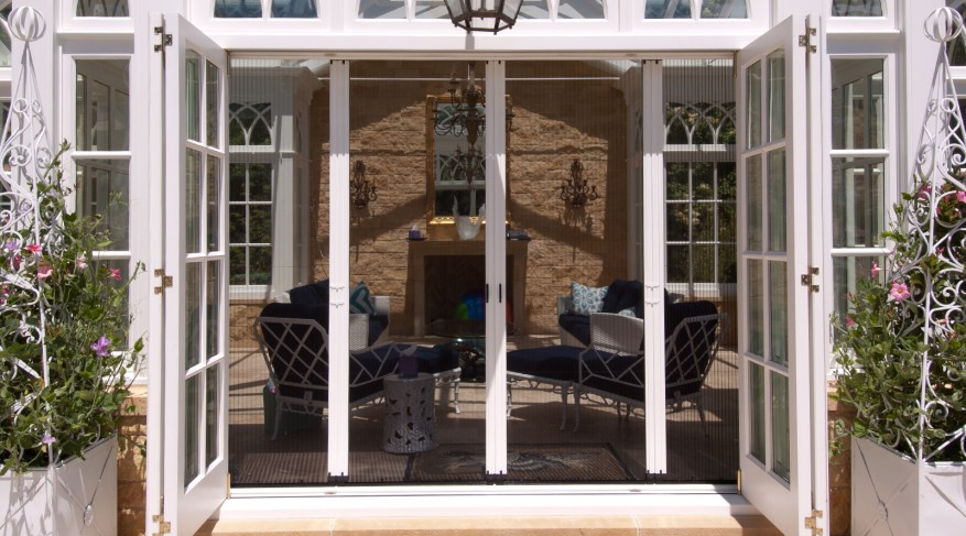 Pool house screen doors