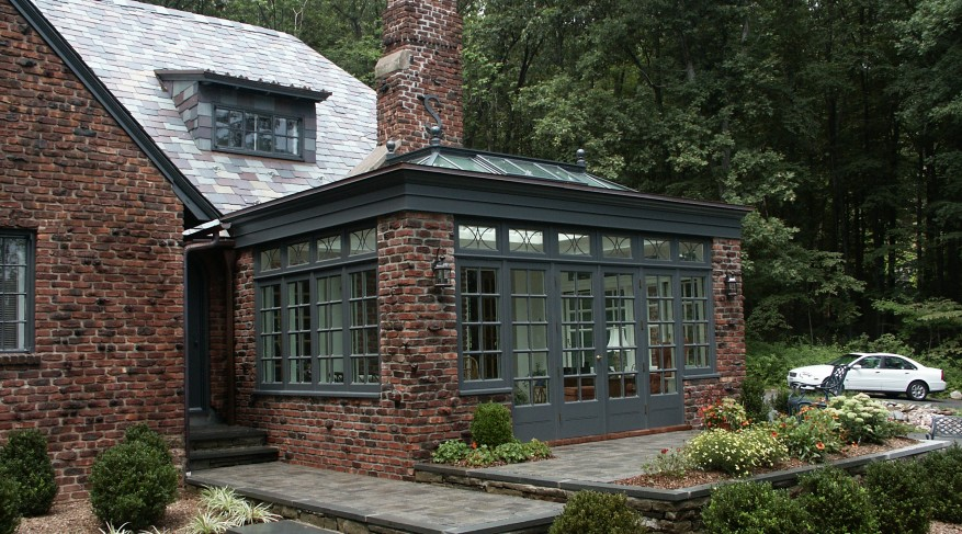 brick and hardwood orangery