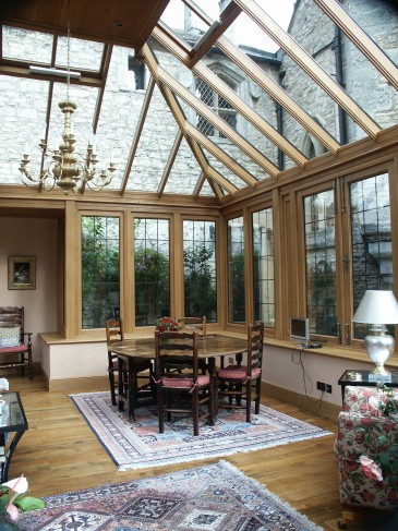 conservatory with light fixture