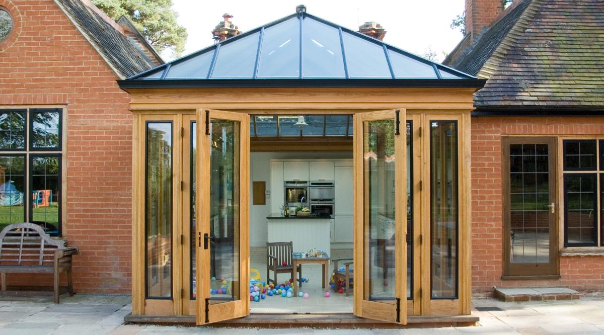 oak kitchen glass roof