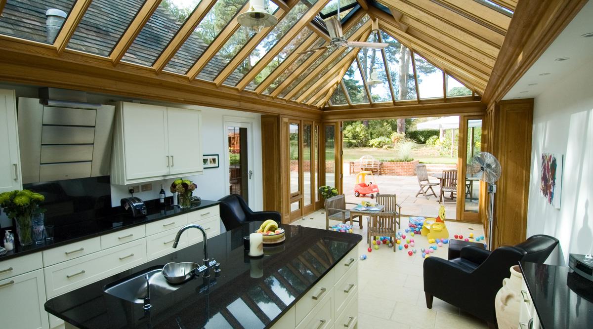 oak kitchen conservatory