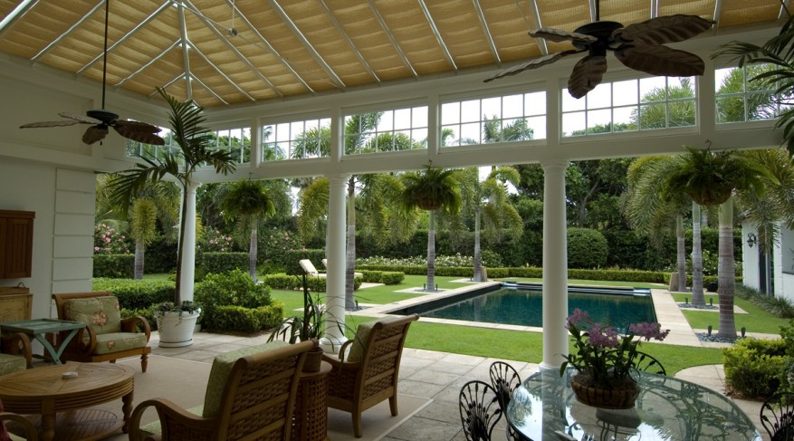 conservatory with roof shades