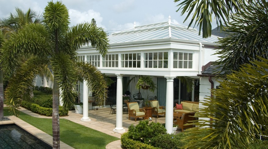 pool house conservatory with columns