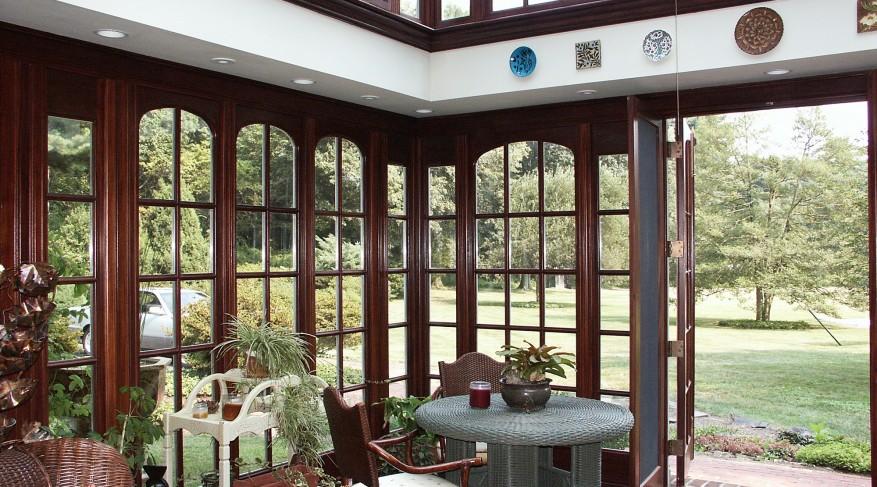 natural wood finish orangery interior