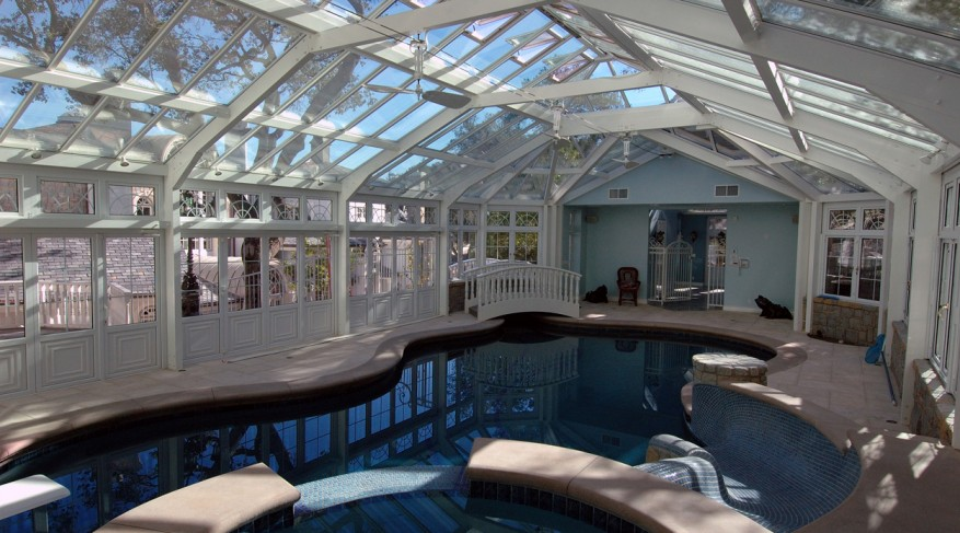 pool enclosure with lantern roof