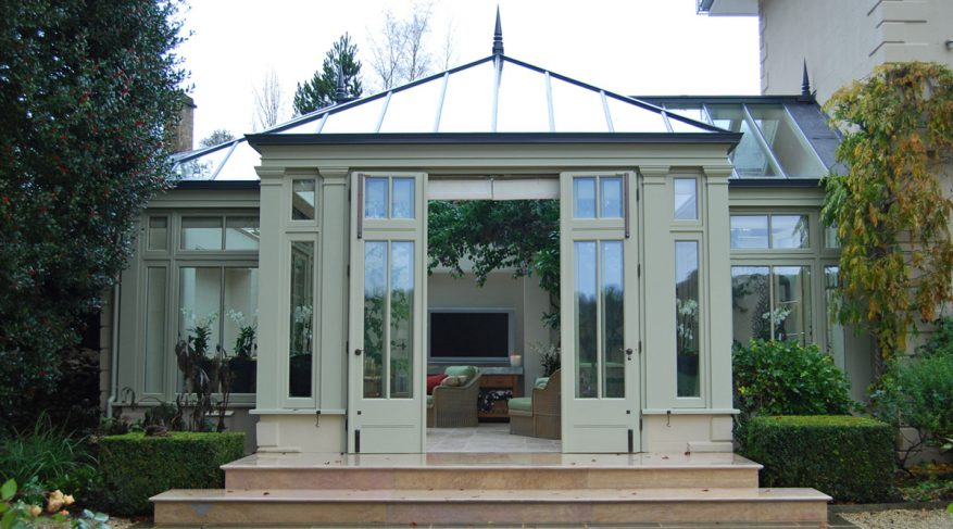 conservatory with folding doors